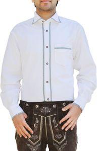 Trachtenhemd Freizeit Hemd für Trachten Lederhosen Weiß, Größe:XL