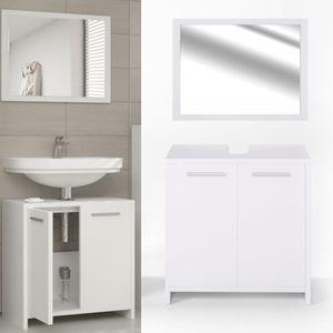 Vicco Badmöbel Set KIKO Weiß - Badezimmer Spiegel Waschtischunterschrank Bad Badschrank
