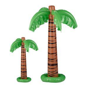 relaxdays 2 x Aufblasbare Palme, Dekopalme, Poolparty, Partypalme, Pool Deko, Aufblaspalme
