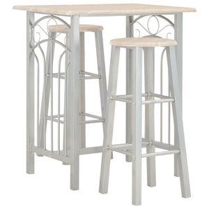 3-tlg. Bar Set, Bartisch mit 2 Stühlen, Esstisch-Set Esszimmergarnitur Essgarnitur Holz und Stahl