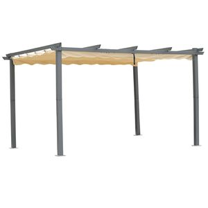 Angel Living Pergola aus Aluminium in anthrazit, Dachrohre aus Stahl, Verstellbares Dach aus Polyester (3x4m, Beige)