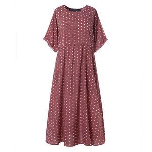 ZANZEA Damenmode Rundhals Kurzarm Kleid Kaftan Langer Gepunktet Pocket Beach Partykleid, Farbe: Pink, Größe: S