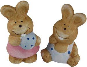 2 teilige Osterhasen Sets - Osterhase Paar aus Keramik - Ostern Deko Artikel - (Hasenpaar Klein)