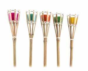 5x Bambusfackeln Gartenfackeln Kerze Citronella Duft im Glas Garten Facke Brenndauer ca. 10Stunden, Mückenschutz