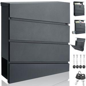 Design Briefkasten Stahl anthrazit verzinkt mit Zeitungsfach 2 Schlüssel Wandbriefkasten