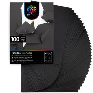 OfficeTree 100 Blatt Bastelpapier schwarz - Bastelset Kinder - Tonpapier A4 130g/m² zum Basteln Gest