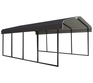 ShelterLogic Stahl Carport 6,1x3x2,5 m Mailand schwarz Garage Überdachung Stahlcarport Pavillon