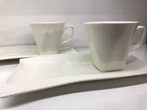 Ballamor 12tlg. Kaffeeservice Kaffee Service Tassen Untertassen als Kuchenteller Weiß (AL-9799)