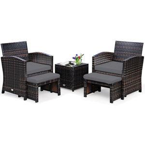 COSTWAY 5er Set Rattan Möbel Balkonset Gartenmöbel mit Sitzkissen und Ottomane für In- und Outdoor Grau
