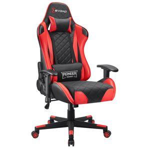 Homall Gaming Stuhl Bürostuhl Gamer Schreibtischstuhl Ergonomischer Chefsessel Höhenverstellbarer Racing Drehstuhl Sessel aus Kunstleder Computerstuhl mit Einstellbare Armlehne, Rot