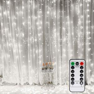 LED USB Lichtervorhang 3m x 3m, 300 LEDs Lichterkettenvorhang mit 8 Modi Lichterkette Gardine