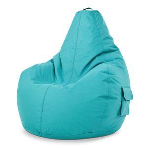 Green Bean © Cozy Beanbag - Gaming Sitzsack 80x70x90 cm mit 230 Liter EPS Perlen Füllung - wasserbaweisend, waschbar, robust - Türkis