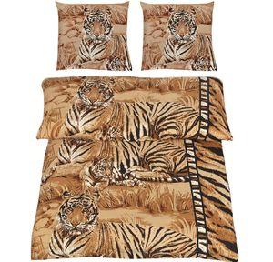 3-tlg Mikrofaser Bettwäsche Set Bettgarnitur Bettbezug Übergröße 200x200 2x Kissenbezug 80x80 cm NEU Tiger Raubkatze NEU Modern Tierfell Tierprint