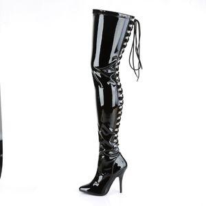 Pleaser SEDUCE-3063 Stiefel schwarz, Größe:EU-44 / US-13 / UK-10