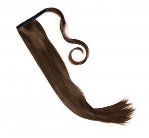 Haarteil Zopf Pferdeschwanz glatt 60 cm zum anklipsen Haarverlängerung Pony in der Farbe schwarz-braun NEU