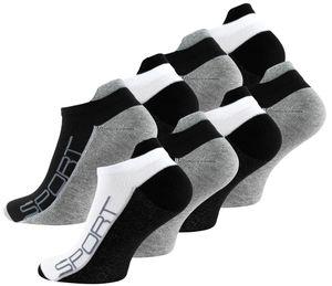 Vincent Creation® Sneaker Socken 8 Paar, mit Hochferse Schwarz/Grau/Weiss 43-46