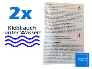 2x Flickzeug Wasserbett, Pool, Flicken, Flickset, Vinyl-Kleber - auch unter Wasser