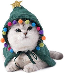 Katze Weihnachten Kostüm, Haustier Katze Weihnachten Kostüm mit Hut, Katzenkostüm Cape Warme Weihnachtskleidung,Party Holiday Dress Up Pet Bekleidung für Katzen Kleine Hunde S (Grün)