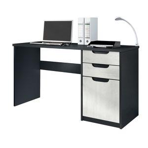 Schreibtisch Silvano in Schwarz Matt und Beton Oxid
