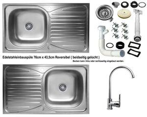 Edelstahl Einbauspüle 76x43,5cm Küchenspüle Spüle reversible + Küchenarmatur Delta