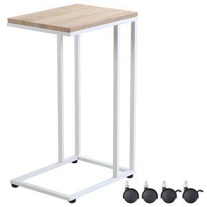 Casaria Beistelltisch Sofatisch mit Rollen Metall MDF Holz-Optik Couchtisch Bettisch Nachttisch Kaffeetisch Pflegetisch, Farbe:weiß
