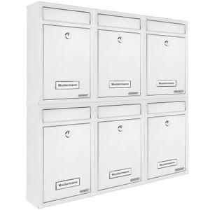 6x Briefkasten Wandbriefkasten Briefkastenanlage Postkasten Stahl Auswahl, Farbe:weiß