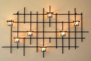 DanDiBo Wandteelichthalter 7XXL Wandkerzenhalter Metall 83 cm Teelichthalter Kerzenhalte