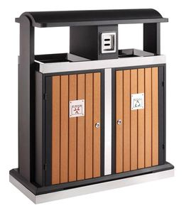 Abfallbehälter für Abfalltrennung draußen 2x50, EKO - Holz Optik