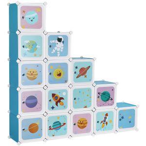 SONGMICS Kinderregal mit 16 Fächern und Türen 123 x 31 x 123 cm Kinderschrank aus Kunststoff blau LPC902Q01