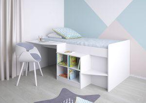 Polini Kids Kinderbett Hochbett mit Schreibtisch und Regal Weiß,1574.9
