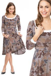 GFWL Umstandskleid Stillkleid #3in1 Schwangerschaftskleid Stillen GF2276XC in Dunkelgrau mit braunem Legomuster plus weissen Buendchen, Größe Damen EU:36 Small