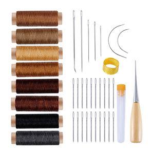 38 Stück Lederhandwerk Werkzeuge, Leder Handnähen DIY Tools Wachsfaden und Nadel Set für Leder Sattel Nähen, Reparatur