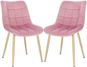 WOLTU 2er-Set Esszimmerstühle Küchenstuhl Polsterstuhl  aus Samt, Metall Gold Beine, Z-BAS292pnk-2 Rosa