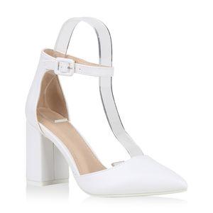 Mytrendshoe Damen Spitze Pumps Chunky High Heels Blockabsatz Party Schuhe 826011, Farbe: Weiß, Größe: 38