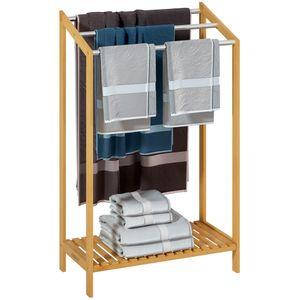 Handtuchhalter Bambus Holz mit Edelstahlstangen Belastbarkeit bis zu 15kg 51 x 31 x 85cm , Anzahl:1x