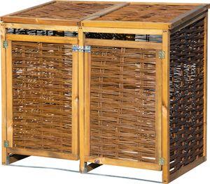 dobar Wetterfeste Doppel-Mülltonnen-Box aus Holz, aufklappbares Mülltonnen-Versteck für zwei 120l Tonnen, ungeschälte Weide, braun, 125 x 80 x 115 cm
