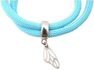 Damen Armband Wickelarmband 925 Silber Schmetterling Blau