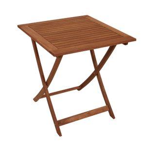 DEGAMO Gartentisch Klapptisch Bistrotisch Holztisch quadratisch 70x70cm, Eukalyptus Holz geölt