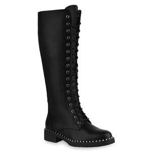Mytrendshoe Damen Schnürstiefel Leicht Gefütterte Stiefel Zierperlen Schuhe 835905, Farbe: Schwarz, Größe: 38