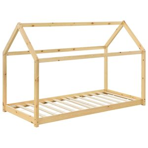Juskys Kinderbett Carlotta 90 x 200 cm mit Lattenrost und Dach - Hausbett aus Massivholz Kiefer - Mädchen & Jungen - Bett in Natur