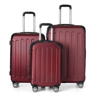 Flexot 2045 3er Reisekoffer Set - Farbe Rubin Rot Größe M L XL Kofferset Hartschale Trolley Koffer