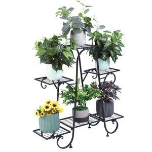 WISFOR Blumenständer Metall mit 4 Ebenen, Pflanzenregal Pflantentreppe Blumenregal Garten Balkon Wohnzimmer