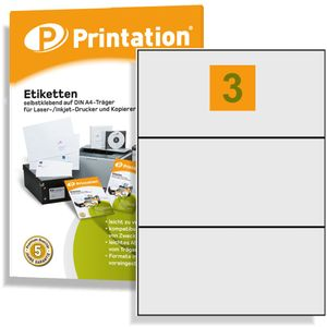 Printation Universal Etiketten 210 x 99 mm weiß 300 Klebeetiketten auf 100 DIN A4 Bogen 3x1 210x99 selbstklebend - 4664