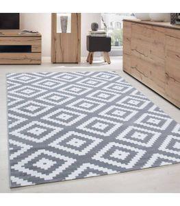 Kurzflor Wohnzimmerteppich Teppich Antikes Karo Muster Grau Weiss Meliert, Grösse:160x230 cm
