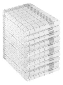 Betz Geschirrtücher Halbleinen Karo MCT-11 Gläsertücher Küchentücher Geschirrhandtücher Größe 50 cm x 70 cm Farbe - grau 196507-10 Stück