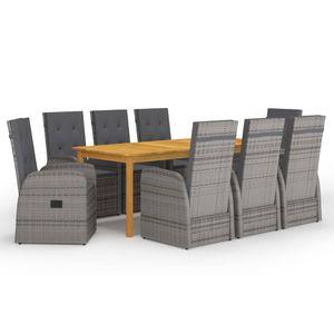 Gartenmöbel Essgruppe 8 Personen ,9-TLG. Terrassenmöbel Balkonset Sitzgruppe: Tisch mit 8 Stühle Grau❀6273