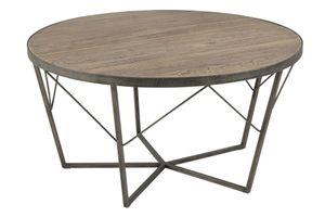 Couchtisch Doras Wildeiche Nachbildung Metall Beistelltisch Sofatisch Korbtisch Tisch