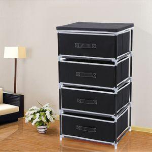 Schubladenschrank mit 4 Schubladen Kommode Stoffschrank 45 x 84,5 x 38 cm Garderoben  Aufbewahrung Campingschrank Schwarz SONGMICS RLG14H
