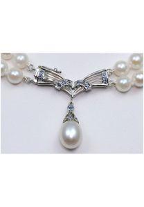 Luna-Pearls Akoya Perlen Collier Perlenkette mit Saphiren HKS84