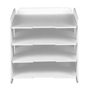 4 Fächern Ablagekorb Briefablage Quadratisch Ablagebox für Büro Schreibtisch, Weiß